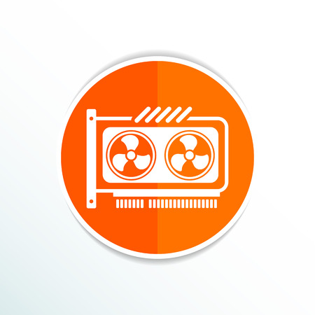 expansion card: GPU or Computer graphic card icon component. Illustration