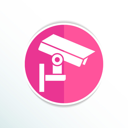monitored area: camera cctv icon sign graphic theft wireless street.