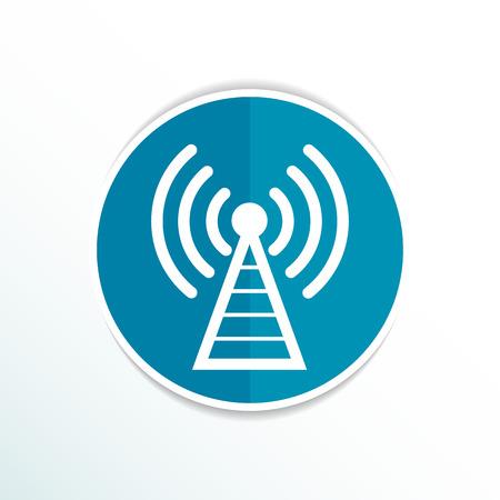 Antenna icon tower radio mast signal antenna vector network. Stock Illustratie