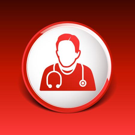 Arzt mit Stethoskop um den Hals Symbol.