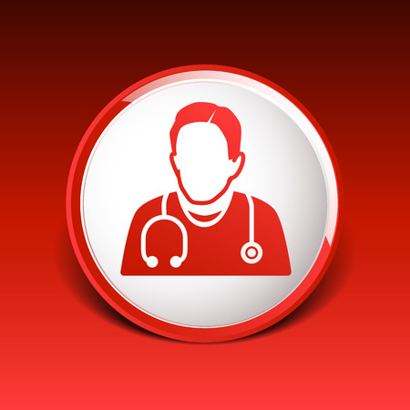 Doctor with stethoscope around his neck icon.