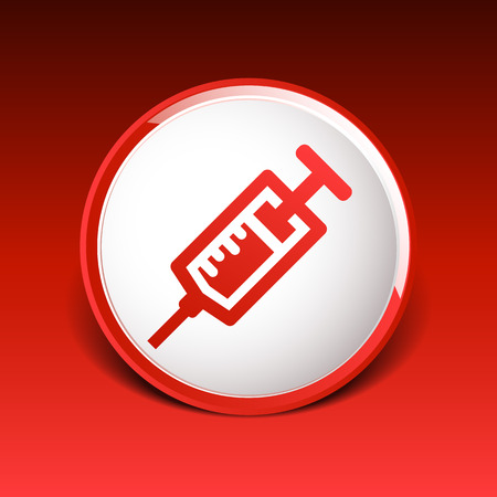 an injector: Syringe icon vector isolated disposable white medical. Illustration
