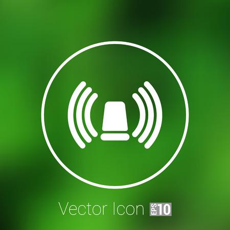 beacon: icon beacon siren isolated caution police white medical.