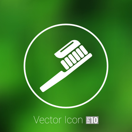 care symbol: Toothbrush With Paste brush icon vector isolated human paste. Illustration