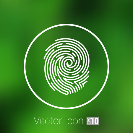 theft: Fingerprint icon finger print vector id theft macro stamp. Illustration