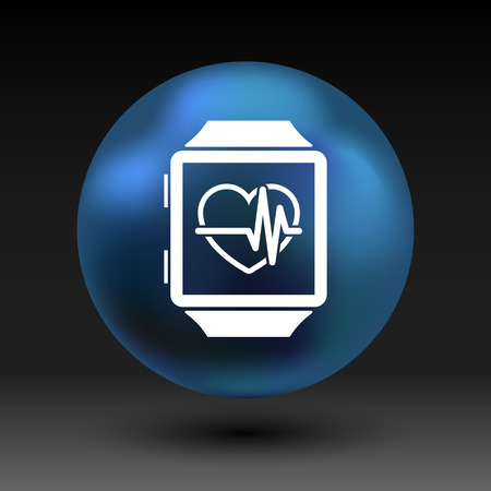 listening to heartbeat: Vector illustration pulsometer heart rate monitor watch icon.