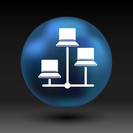 logo ordinateur: Réseau - vecteur icône réseau filaire lan web.