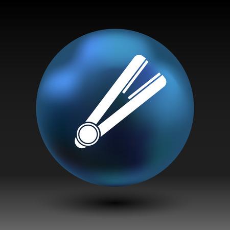 straightener: straightener icon hai outline white curl iron.