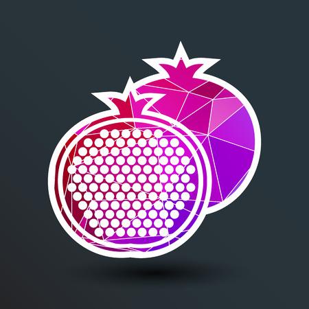 pomegranate: Pomegranate fruit slice whole black silhouette logo.