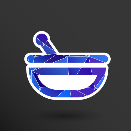 mortar and pestle: Mortar and pestle with blue tablets icon.