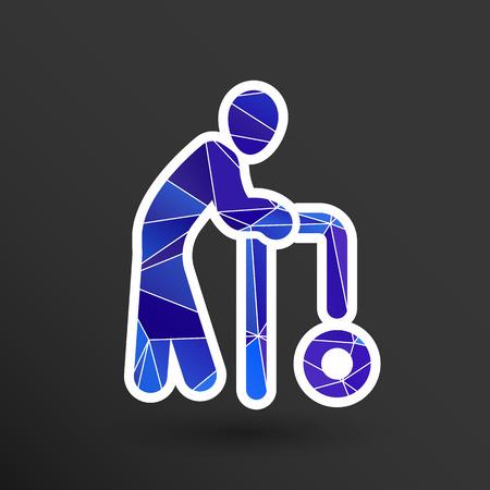 senile: Elder Black Graphic Symbol Vector Illustration  icon.