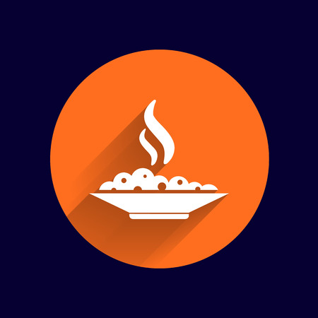 food court: Hot meal cup steamy bowl food court logo. Illustration