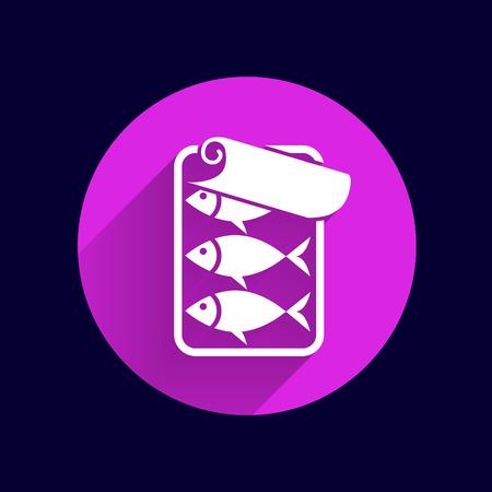 sardine: Vektor-Symbol f�r Zinn Fisch mit Ring-Pull. Illustration