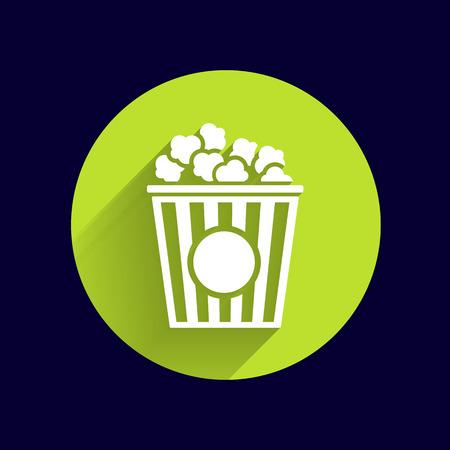 popcorn: Dise�o de las palomitas en el fondo azul, vector logo limpio.