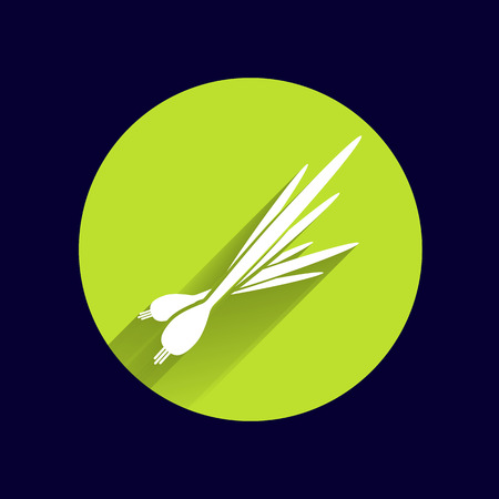 onions: Vector isolated  young green onions and leeks triangles.
