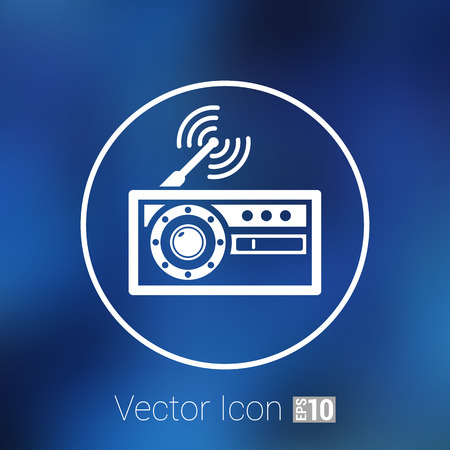 fm radio: radio icon vector station symbol fm antenna.
