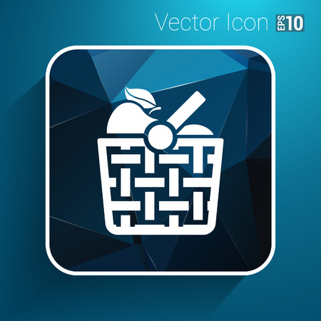 Basket icon with shadow and other picnic icons. Illustration