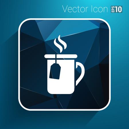 steamy: A cup of hot tea icon vector logo.
