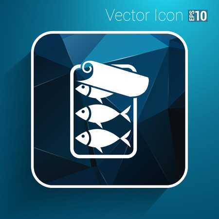 hermetic: vector icon for tin fish can with ring pull.