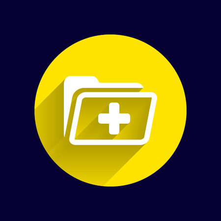 medical record: Medical health record folder flat icon for healthcare. Illustration