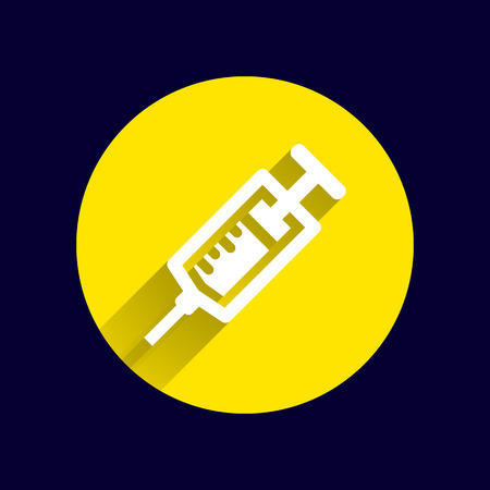 drug user: Syringe icon vector isolated disposable white medical. Illustration