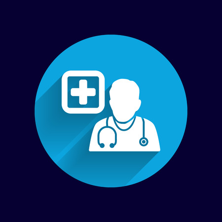 doctor icon: Doctor with stethoscope around his neck icon.