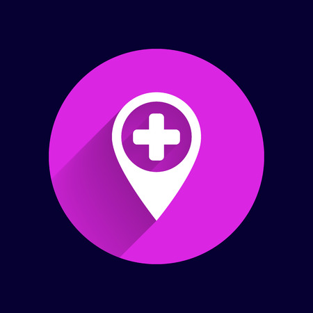 recovery position: Map Pointer Icon With Cross, Hospital, First Aid Sign. Illustration