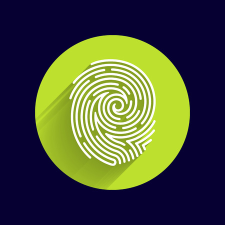 hand print: Fingerprint icon finger print vector id theft macro stamp. Illustration