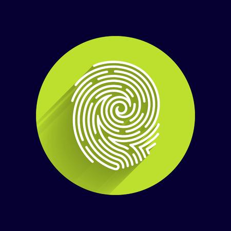 dedo: Icono de la huella digital del vector Identificaci�n del robo de la huella digital macro sello. Vectores