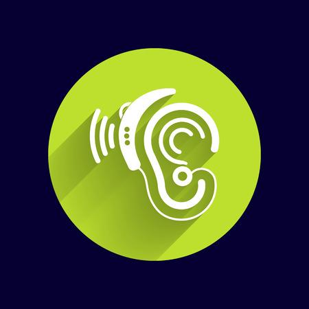 hearing: Ear vector icon hearing aid ear listen sound graphics.