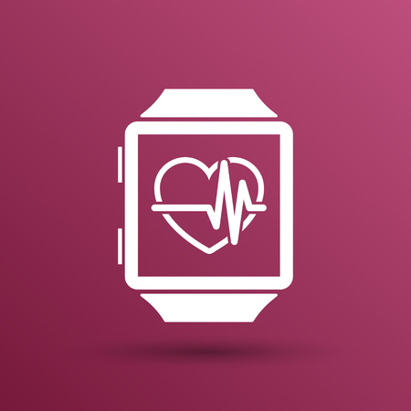 tachycardia: Vector illustration pulsometer heart rate monitor watch icon.
