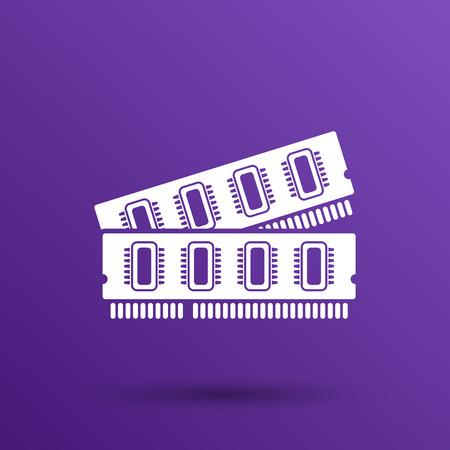 ddr: icon of memory chip RAM hardware rom power. Illustration