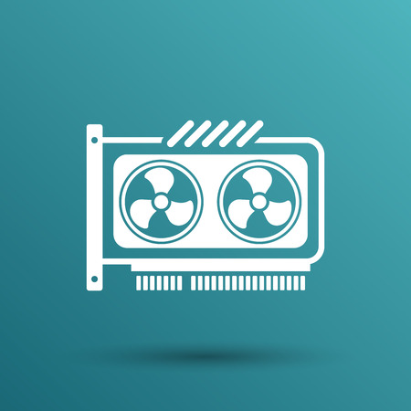 graphic card: GPU o Computer scheda grafica icona del componente. Vettoriali