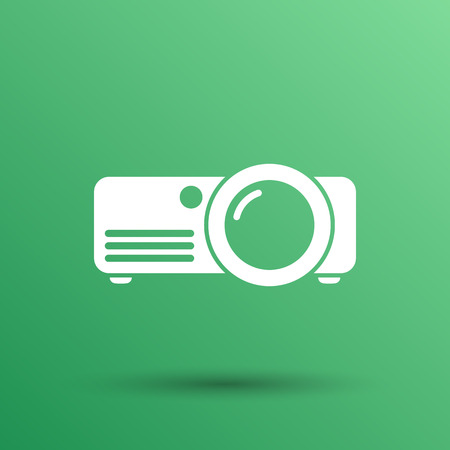 projector icon Rounded squares button vector symbol.