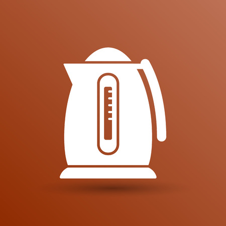preparation: Electric kettle icon kitchen vector preparation illustration.