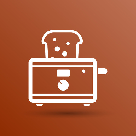 crust: toaster icon isolated slice crust white snack appliance. Illustration