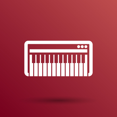 melodic: Black synthesizer keyboard piano music icon vector.