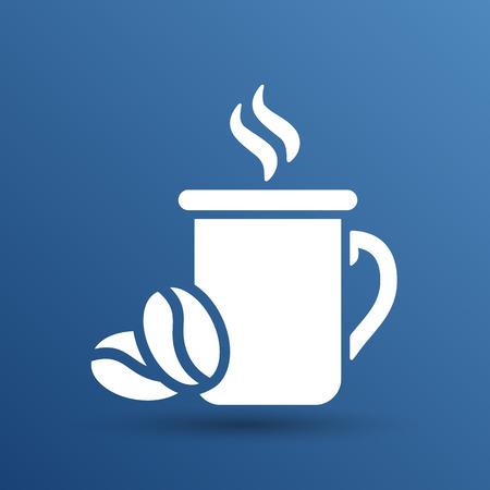 hot cup: Coffee cup vector logo design template. Cafe shop emblem.