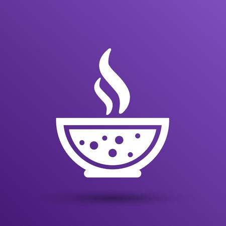 restaurateur: Bol de soupe chaude avec une cuill�re Ligne Art. Ic�ne isol�.
