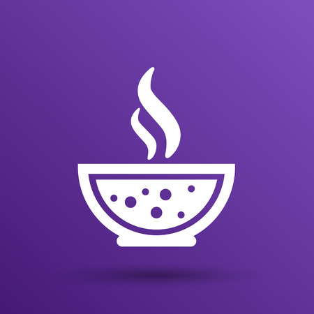 streckbilder: Bowl of Hot Soup with spoon Line Art. Icon isolated. Illustration