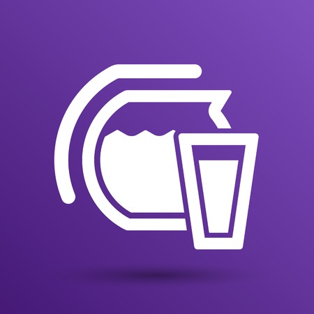 Glass pitcher logo  vector icon compote juice.