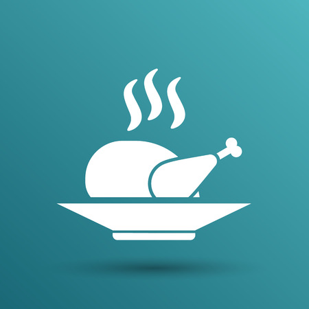 grilled: chicken grill icon logo hot meal cooking.