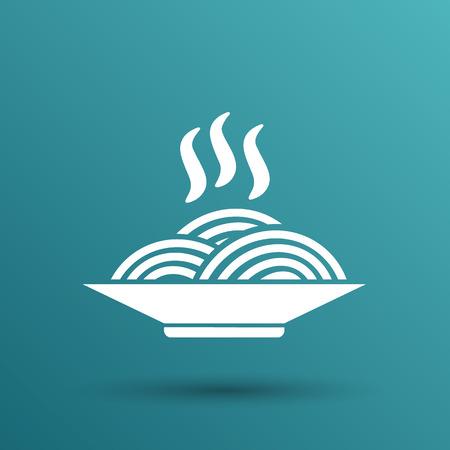 Spaghetti auf einem Teller logo Gericht Essen Küche.