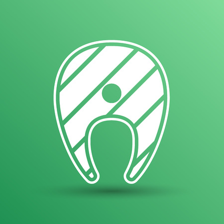 salmon steak: salmon steak fish design vector icon logo. Illustration