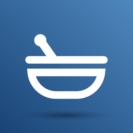pestle: Mortar and pestle with blue tablets icon.