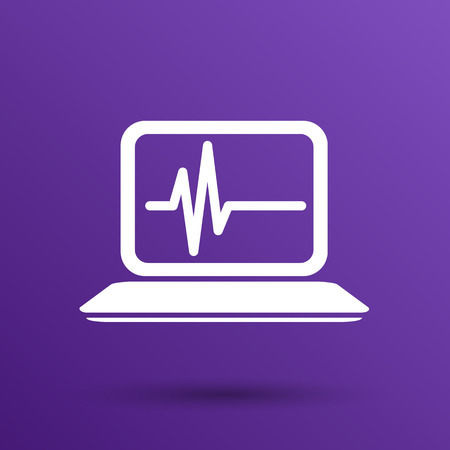 pulsation: computer diagnostics icon laptop test isolated technical. Illustration
