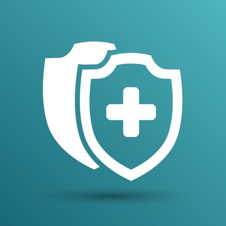 Vector Medische Shield Icon schermen flat gezondheid kruis medische. Vector Illustratie
