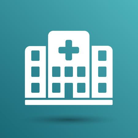 ambulance: Edificio icono de la cruz del Hospital aislado vista médico humano.