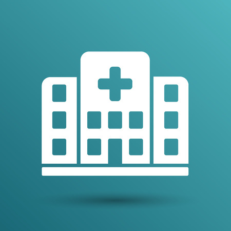 Hospital icon cross building isolated human medical view. Stock Illustratie