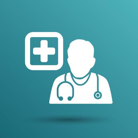 Doctor with stethoscope around his neck icon.